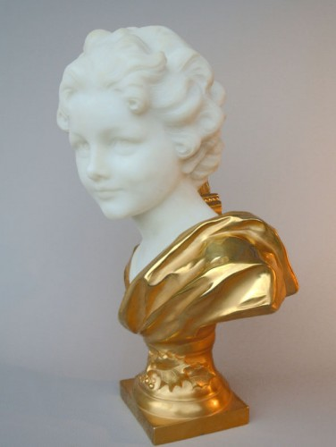 Marbre and bronze bust by Léonard Agathon -