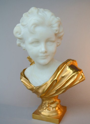 20th century - Marbre and bronze bust by Léonard Agathon