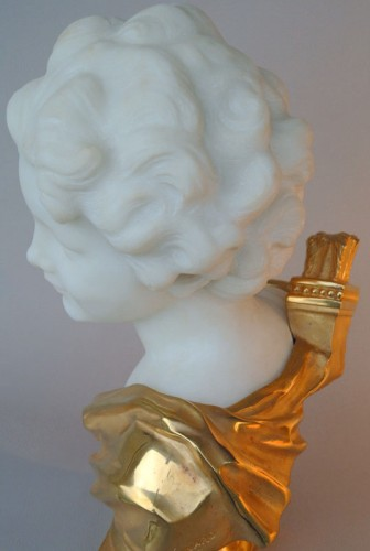 Antiquités - Marbre and bronze bust by Léonard Agathon