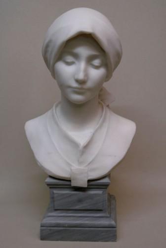 Carrara marble - A. LEONARD (1841/1923) - Sculpture Style Art nouveau
