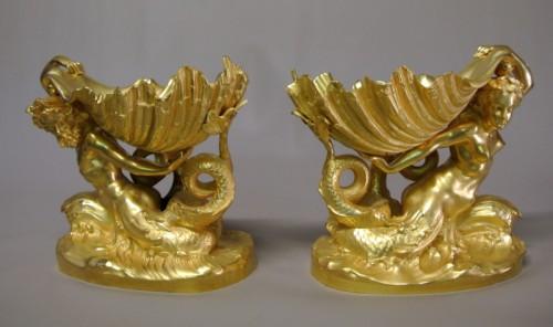 Pair of gilt bronze cups by Marioton and Sandoz (Epoque 1900) - Sculpture Style Art nouveau