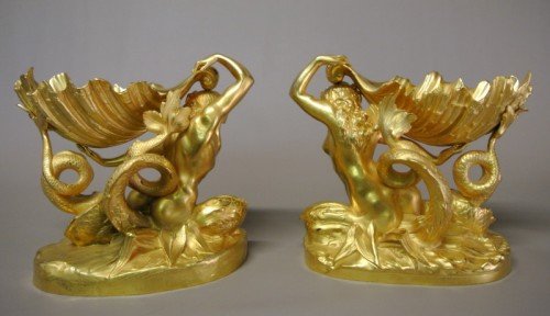Sculpture  - Pair of gilt bronze cups by Marioton and Sandoz (Epoque 1900)