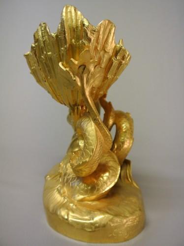 Antiquités - Pair of gilt bronze cups by Marioton and Sandoz (Epoque 1900)