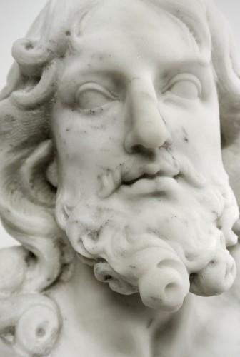 """- """"Buste du Christ"""" marbre d'époque XIXème"""