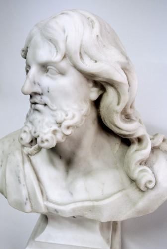 """Antiquités - """"Buste du Christ"""" marbre d'époque XIXème"""