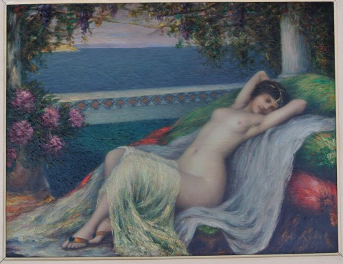 Paintings & Drawings  - Young woman lying down, Louis Ridel (1866-1937)