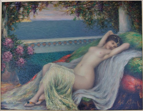 20th century - Young woman lying down, Louis Ridel (1866-1937)