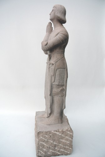 """Sculpture  - """"Jeanne d'Arc in prayer""""  by Georges Salendre 1890/1985"""