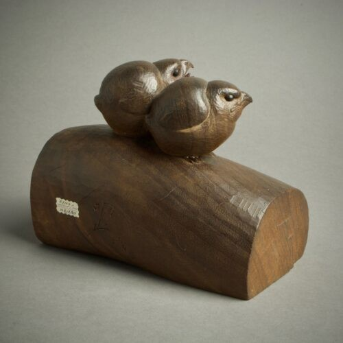 Asian Art & Antiques  - Ohno Meizan – A Japanese wood okimono of chicks