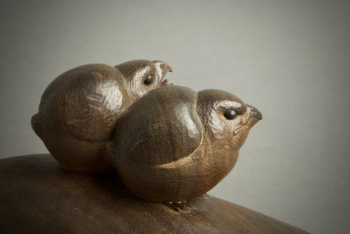Ohno Meizan – A Japanese wood okimono of chicks -