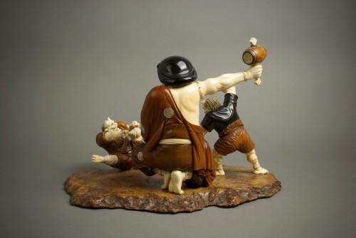 Asian Art & Antiques  - A Japanese Daikokuten with oni
