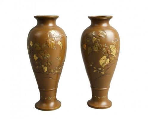 Hatayama - Two Japanese mixed metal vases