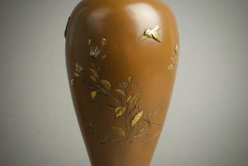 19th century - Hatayama - Two Japanese mixed metal vases
