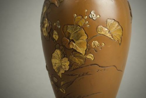 Hatayama - Two Japanese mixed metal vases -