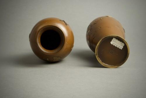 Antiquités - Hatayama - Two Japanese mixed metal vases