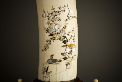 Asian Art & Antiques  - Ryomune – A Japanese Shibayama ivory tusk