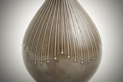 Asian Art & Antiques  - Kankei - A Japanese bronze and silver vase