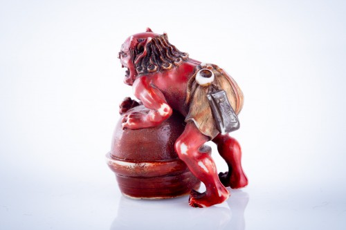 Asian Art & Antiques  - Tomomasa - A Japanese netsuke of an oni