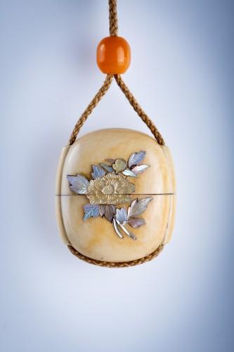 A Japanese ivory and shibayama inro -