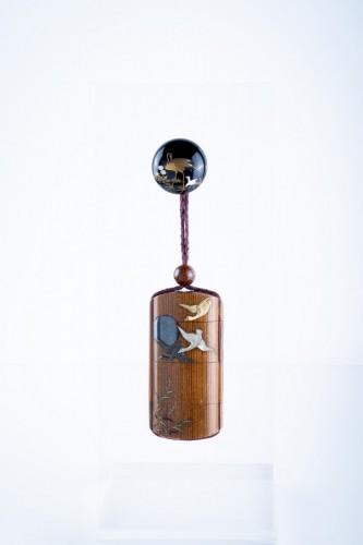 19th century - Shibayama - A Japanese wood and shibayama inro
