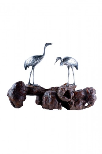Shunko – A Japanese okimono pair of Manchurian Cranes