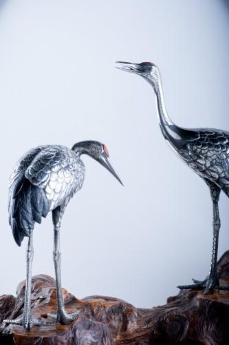 Asian Art & Antiques  - Shunko – A Japanese okimono pair of Manchurian Cranes