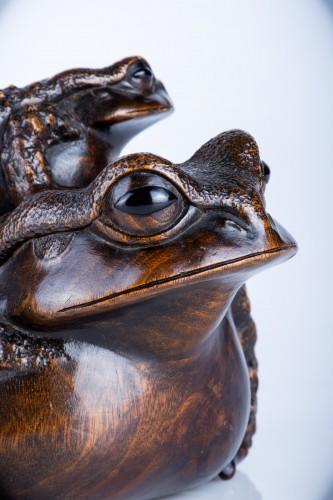 Antiquités - Masanao - A Japanese okimono of two toads