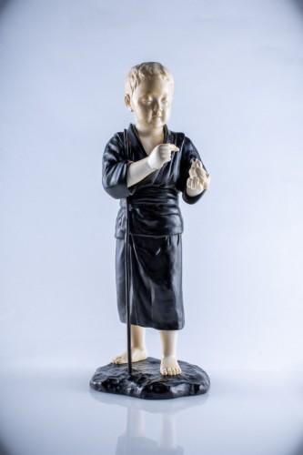 - Hiroko - A Japanese Tokyo school ivory and bronze okimono of a child