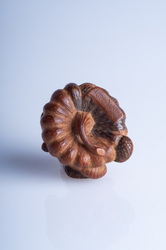 Asian Art & Antiques  - Tomonobu – A Japanese coiled snake around a pumpkin