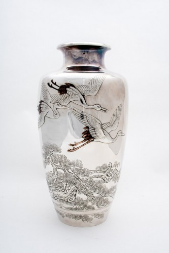 Eiho – A Japanese solid silver vase -