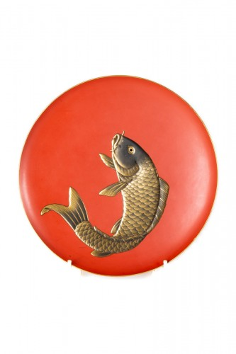 A Japanese red lacquer plate with a carp