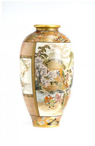 Okamoto Ryozan - A Japanese Satsuma vase  - Asian Works of Art Style