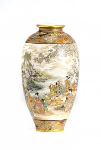 Asian Works of Art  - Okamoto Ryozan - A Japanese Satsuma vase