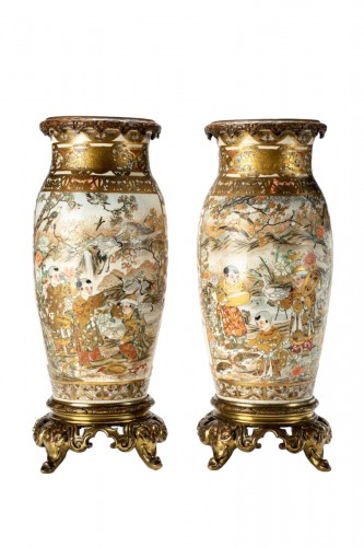 A Japanese pair of Satsuma vases