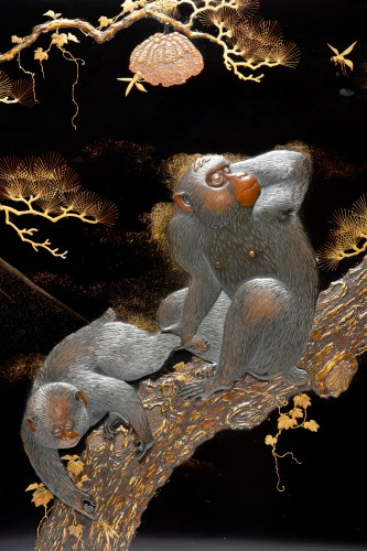 A Japanese painting of monkeys and mount Fuji - Asian Works of Art Style