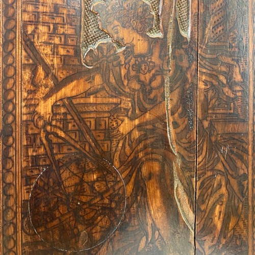 Cypress wood pyrography cabinet. North Italian, late 16th century. - Furniture Style