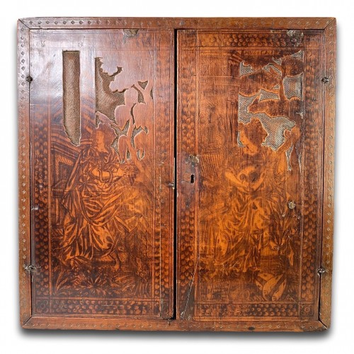 Furniture  - Cypress wood pyrography cabinet. North Italian, late 16th century.