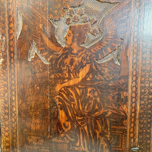 Cypress wood pyrography cabinet. North Italian, late 16th century. -