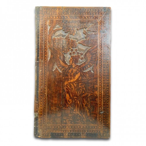 <= 16th century - Cypress wood pyrography cabinet. North Italian, late 16th century.