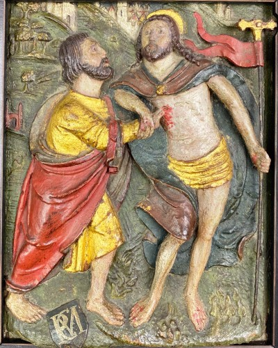 Oak relief of the incredulity of Saint Thomas. Flemish, 16th century. - Sculpture Style