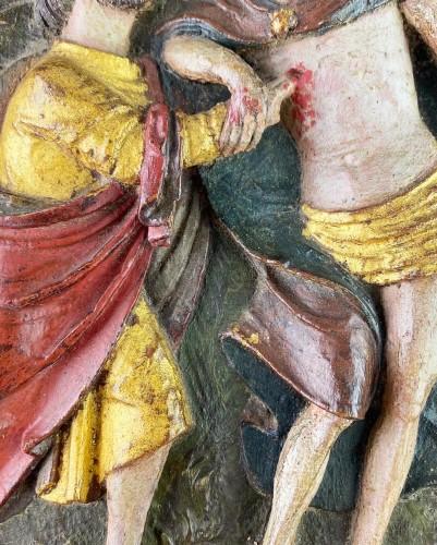 <= 16th century - Oak relief of the incredulity of Saint Thomas. Flemish, 16th century.