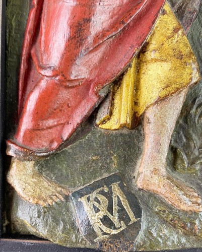 - Oak relief of the incredulity of Saint Thomas. Flemish, 16th century.