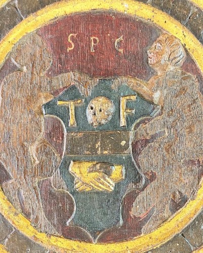Antiquités - Oak relief of the incredulity of Saint Thomas. Flemish, 16th century.