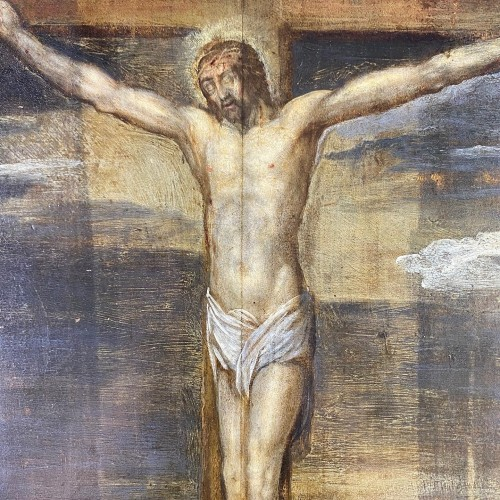 Paintings & Drawings  - Painting of the crucifixion of christ with donors. German, c.1633.