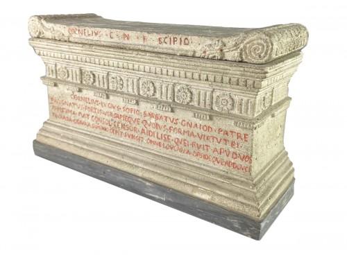 Lava stone model of a tomb of the Scipio's. Italian, early 19th century.