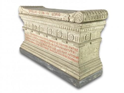 - Lava stone model of a tomb of the Scipio's. Italian, early 19th century.