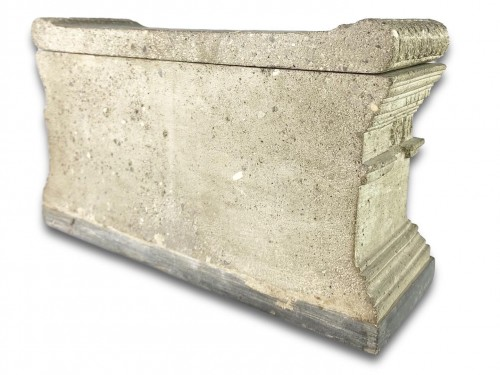 Antiquités - Lava stone model of a tomb of the Scipio's. Italian, early 19th century.