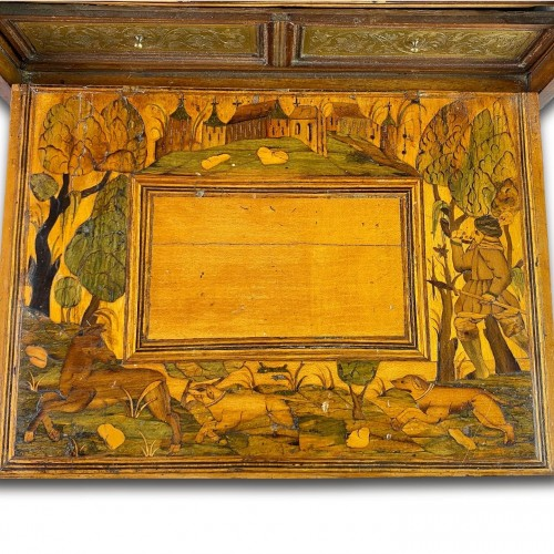 17th century - Marquetry table cabinet. South German, first half of the 17th century.