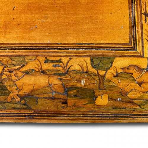 Marquetry table cabinet. South German, first half of the 17th century. -