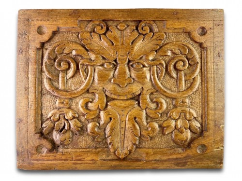Pair of walnut panels carved with mascarons. French, late 16th century. - Architectural & Garden Style
